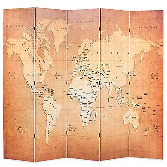 vidaXL غرفة مقسم قابل للطي 200 × 170 سم خريطة العالم الأصفر