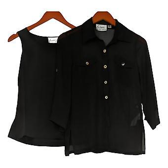 Linea By Louis Dell'Olio Women's Top XXS Crinkle Shirt Shell Black A214117
