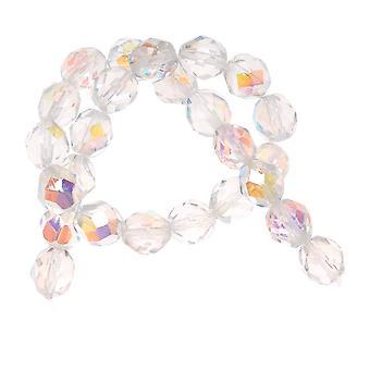 Perline di vetro lucido al fuoco ceco 8mm Rotondo 'Crystal AB' (25)