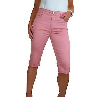 Women's Summer Cropped Chino Trousers Capri Pants Turn Up Cuff