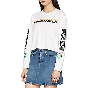 Tommy Hilfiger Floral Logo Longsleeve T-shirt, White (Bright White 113), X-Large Woman