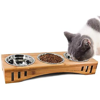 Katzennäpfe Hundenapf Katzenschüssel Set Keramik mit Bambus Unterstützung Für Katzen und Welpen