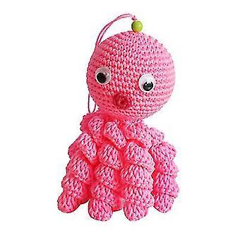 Vaaleanpunainen pää luova villa nukkecrocheted mustekala x4709