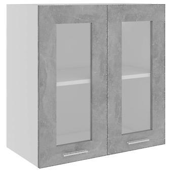 vidaXL Hangglas kast betongrijs 60x31x60 cm spaanplaat