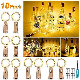 Set of 10 bottles of 25 leds 2.5 m of warm white light bottle led fairy lights - christmas warm white dt5958