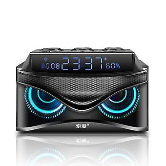 Subwoofer Sound Bluetooth Speaker LED Display Cool Owl Design Column Portable Speakers(Black)