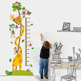 Animals Height Measure Waterproof Wall Stickers Kids Removable Decals