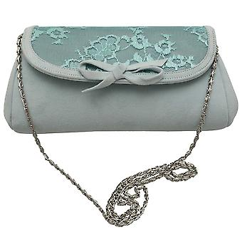 Magrit Aqua Blue Suede Vintage Inspired Clutch Bag With Lace Detail