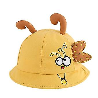 1 To 2 Years Old Little Bee Embroidery Baby Fisherman Hat Top Tentacles Baby Hat(Yellow)