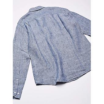 Essentials Men's Slim-Fit Langarm Leinen Shirt, natürlich, Medium