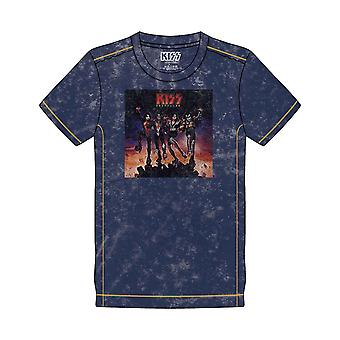 Kiss T Shirt Destroyer Band Logo ny officiell Mens Navy Blue Snow Wash