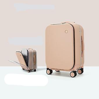 Alumiinirunkoinen matkalaukku kuljettaa rullaavia matkatavaroita