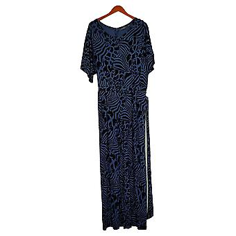 Lisa Rinna Collection Jumpsuits Short Sleeve Wide Leg Blue A367831