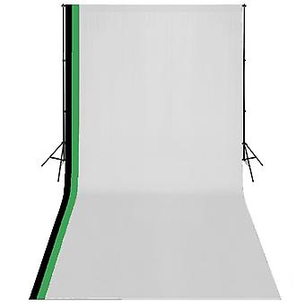 Photo Studio Kit with 3 Cotton Backdrops Adjustable Frame 3x6m Stand