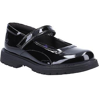 Hush puppies kid's tally senior school flat shoe patent black 32815
