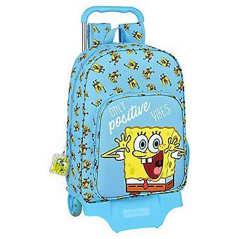 School Rucksack with Wheels Spongebob Positive Vibes Yellow Light Blue