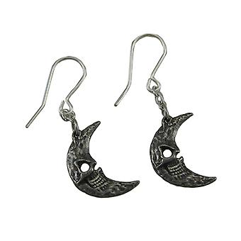 Alchemy Gothic Crescents Tragicomic Skeletal Moon Dangle Earrings