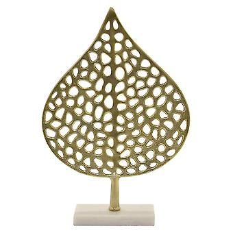 Plutus Brands Metal Leaf W/marble Base in Gold Metal - PBTH92974