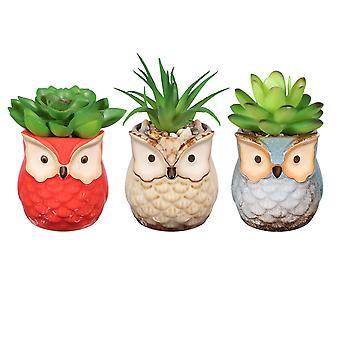 Yardwe 3pcs Kunstig Saftig Plante Pot Simulering Grønne planter Kreative Imitaton Potted Bonsai Decor For Hjem