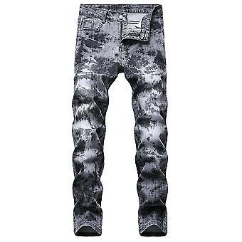 Pánské stylové tištěné džíny s rovnými nohavicemi Džínové kalhoty