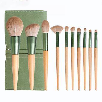 10pcs Makeup Brush Set Solid Wood Loose Powder Brush Eye Blush Brush Beauty Tool
