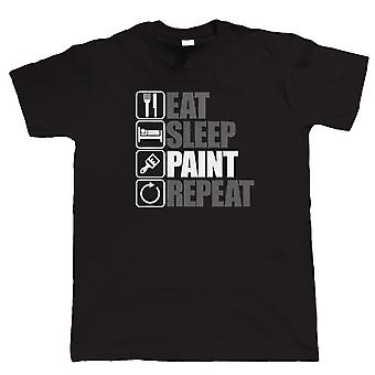 Coma tinta do sono repito, mens engraçado, camisa de decoração, pai presente