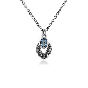 Art Deco Style Oval Aquamarine & Marcasite Necklace in 925 Sterling Silver 214N688205925