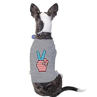 السلام علامة العلم الأميركي غراي الكلب الصغيرة قميص تصميم لطيف الحيوانات الأليفة قميص