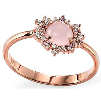 925 Silver Rose Gold Plated And Rose Quartz Trend Ring