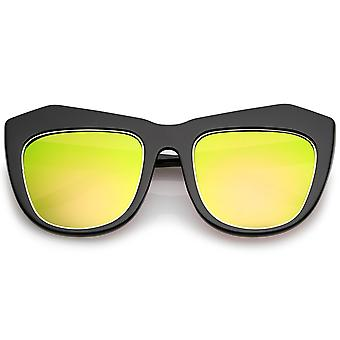 Oversize Chunky Frame Square Colored Mirror Lens Cat Eye Sunglasses 56mm