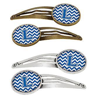 Letter L Chevron blauw en wit Set van 4 haarspeldjes Hair Clips