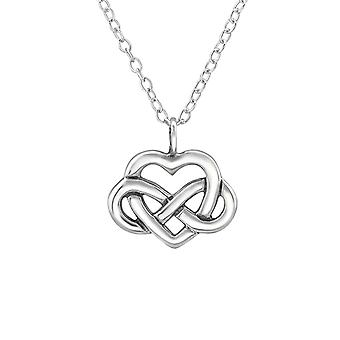 Celtic Heart Knot - 925 Sterling Silver Plain Necklaces - W30873x