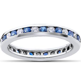 1 1/2ct Diamond & Sapphire Eternity Ring 14K White Gold