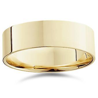 7mm platt hög polerade bröllop Band 14K gult guld