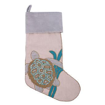 Holiday Serenity Sea Turtle Swimming in Seaweed Beaded Christmas Stocking