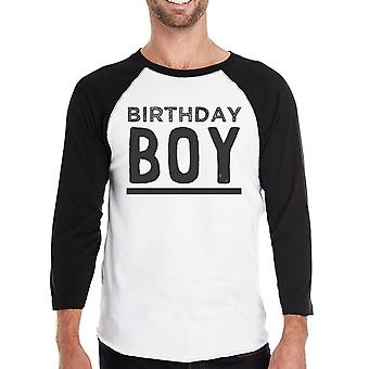 Verjaardag jongen Baseball T-Shirt 3/4 mouw zwart mouwen Raglan Tee