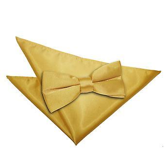 Gold-Plain Satin Bow-Tie & Einstecktuch Satz