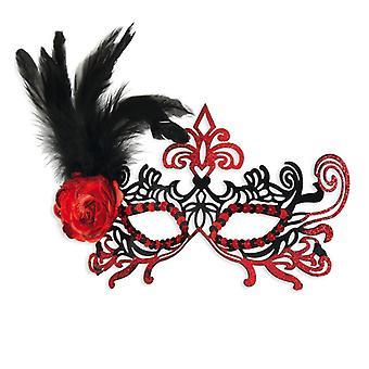 Metal Domino naamio sulka kukka musta punainen varuste Carnival
