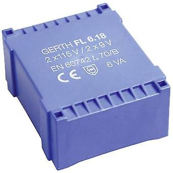 Gerth FL6.24 PCB mount transformer 2 x 115 V 2 x 12 V AC 6 VA 250 mA