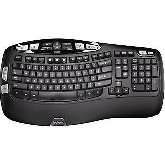Logitech K350 Tastiera tedesca, QWET, Windows® Black Ergonomic, tappetino per il supporto per polso Gel