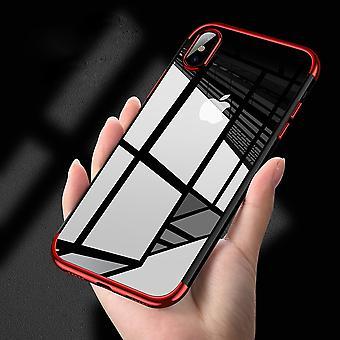 Silicone pele capa case para vermelho transparente transparente de Apple iPhone X