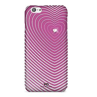 5 pack - witte diamanten Heartbeat Case voor Apple iPhone 6/6s - roze
