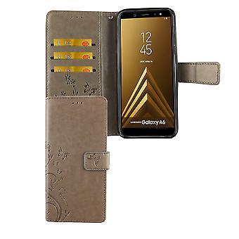 Samsung Galaxy A6 2018 puhelimen tapauksessa suojakotelo kattaa läppä tapauksessa kortin alustan harmaa