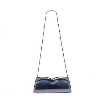 Azuree Metal Blue Clutch With Chain