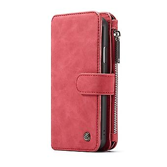 CASEME iPhone X Retro Leder Brieftasche Case-rot