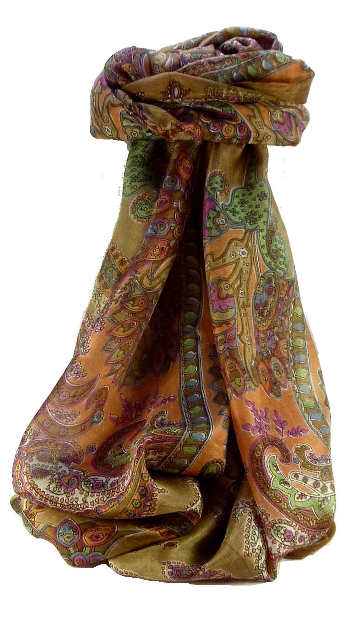 Mulberry Silk Traditional Long Scarf Shipra Chestnut by Pashmina & Silk