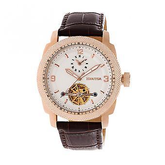 Heritor automatische Helmsley semi-skelet lederen-Band Watch - Rose goud/wit