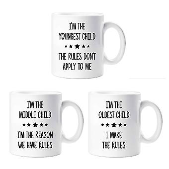 Rules Mug Set I'm The Youngest I'm In The Middle I'm The Oldest Sibling Rivalry Mugs