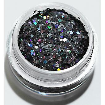 1pcs Sechseck Glitter schwarz Regenbogen