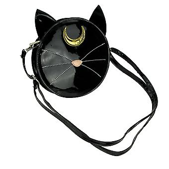 Black Mystical Cat Patent Vinyl Crossbody Purse Small
